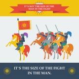 Tapfere Ritter in der modischen flachen Art lizenzfreie abbildung