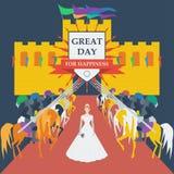 Tapfere Ritter und Brautprinzessin in der modischen flachen Art stock abbildung