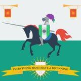 Tapferer Ritter in der modischen flachen Art lizenzfreie abbildung
