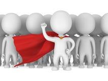 Tapferer Superheld mit rotem Mantel vor einer Menge Stockfotos