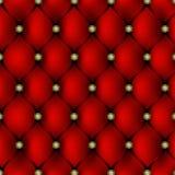 Tapicería de cuero roja con el fondo del modelo del botón del oro ilustración del vector