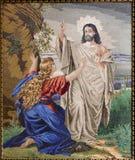 Tapicería de la aparición de Jesús resucitado a Maria de Magdalena Foto de archivo
