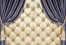 Tapicería de oro con el fondo de la cortina del terciopelo Fotografía de archivo libre de regalías