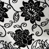 Tapicería floral blanco y negro adornada Fotos de archivo