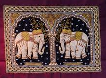 Tapicerías tailandesas del elefante a mano Imagen de archivo libre de regalías