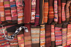 Tapicería andina tradicional. Imagen de archivo libre de regalías