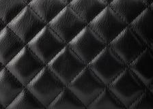 Tapicería de cuero negra Fotos de archivo libres de regalías