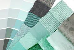Tapicerowanie zasłony i makaty koloru wybór Fotografia Stock