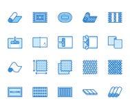 Tapijt die vlakke geplaatste lijnpictogrammen schoonmaken Deken die, bamboemat, de tapijten van Perzië, het vloeren vectorillustr royalty-vrije illustratie
