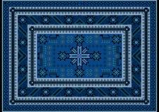 Tapijt met rood en blauw uitstekend ornament en de kleur van Bourgondië in het midden Royalty-vrije Stock Fotografie