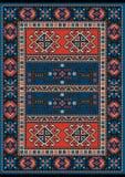 Tapijt met rood en blauw uitstekend ornament en de kleur van Bourgondië in het midden Royalty-vrije Stock Foto