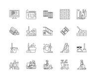 Tapijten en pictogrammen van de stofferings de schoonmakende lijn, tekens, vectorreeks, het concept van de overzichtsillustratie vector illustratie
