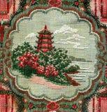 Tapijttextuur met Chinese tempel Stock Fotografie