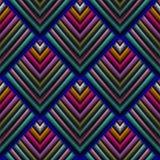 Tapijtwerk 3d vector naadloos patroon Borduurwerk geometrische grunge Royalty-vrije Illustratie