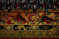 Tapijtwerk van Gion-festivalvlotter, Kyoto Japan royalty-vrije stock foto