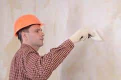 taping del muro a secco dell'appaltatore Fotografie Stock Libere da Diritti