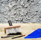 Taping of the old wall paper wallpaper Stock Photography