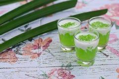 Tapioca pearl coconut milk. Pandan tapioca pearl with coconut milk Royalty Free Stock Images