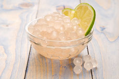 Tapioca pearls with lime. bubble tea stock images