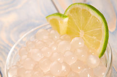 Tapioca pearls with lime. bubble tea Royalty Free Stock Image