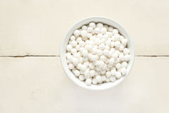 Tapioca pearls in white cup, top view Stock Images