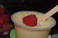 Tapioca pudding and raspberry Stock Photo