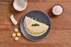 Tapioka gefüllt mit Kokosnusscreme Stockfoto