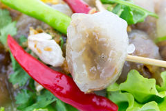 Tapioki wieprzowiny Czerwonego chili korzenny bardzo wyśmienicie Fotografia Royalty Free