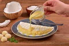 Tapioki wypełniać z kokosową śmietanką Zdjęcia Royalty Free