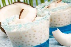 tapiokor för pudding för kokosnötgelélitchi fotografering för bildbyråer
