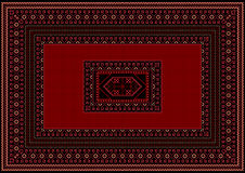 Tapis avec le rouge et détails de Bourgogne sur un fond noir Image stock