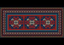 Tapis bariolé de vintage avec le modèle rouge ethnique au centre Images stock
