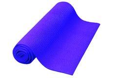 Tapis bleu de yoga d'isolement sur le fond blanc Photo stock