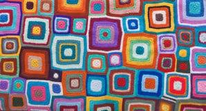 Tapis coloré avec le modèle tricoté par places Vue supérieure, configuration plate photo libre de droits