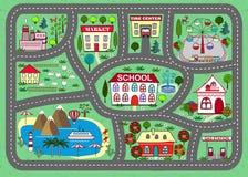Tapis de jeu de route pour des enfants activité et divertissement Image stock