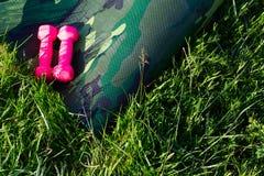 Tapis de yoga d'amouflage de ¡ de Ð avec deux dumbells roses en nature Photographie stock