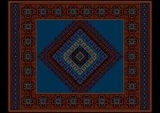 Tapis foncé ethnique de Bourgogne de vintage avec le bleu au milieu Images libres de droits