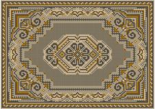 Tapis luxueux aux nuances beiges et brunes avec le modèle sur un champ beige au centre image libre de droits