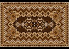 Tapis oriental bariolé luxueux de vintage aux nuances brunes Photo stock