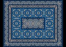 Tapis oriental de vintage avec l'ornement des nuances bleues et grises Image stock