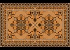 Tapis oriental de vintage de luxe avec les nuances brunes, grises et jaunes sur le fond noir illustration stock