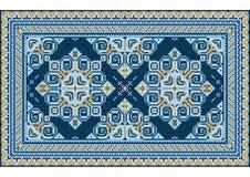 Tapis oriental de vintage de luxe avec les nuances jaunes et différentes du bleu sur le fond blanc illustration de vecteur