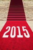 Tapis rouge avec le numéro 2015 Photos stock