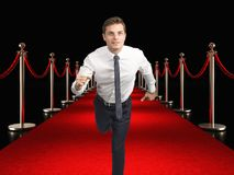Tapis rouge et homme d'affaires Photo stock
