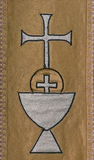Tapisserie chrétienne de symboles de sainte communion Photographie stock