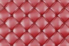 Tapisserie d'ameublement en cuir Sofa Background Sofa de luxe rouge de décoration Texture en cuir rouge élégante avec des boutons Images stock
