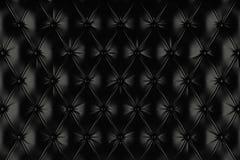 Tapisserie d'ameublement noire anglaise de cuir véritable, fond de style de Chesterfield Images libres de droits