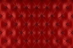Tapisserie d'ameublement rouge anglaise de cuir véritable, fond de style de Chesterfield Photographie stock