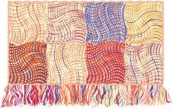 Tapisserie mit buntem Muster des Patchworks mit Schmutz streifte gewellte Elemente und Franse lizenzfreie abbildung