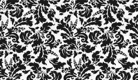 Tapisserie noire et blanche avec des fleurs Photos libres de droits